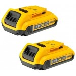 Dewalt DCB183 - 2Ah Li-Ion Battery Pack, 18 V, Black/Yellow (Twin Pack) |