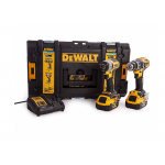 DeWalt DCK2500P2B-GB - 18V XR Tool Connect Brushless Hammer Drill Driver + Impact Driver with 2 x 5.0Ah Batteries ]