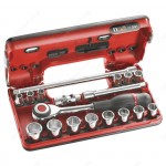 "FACOM J.360DBOX1 3/8"" DRIVE 6 POINT METRIC SOCKET SET 8 - 22MM WITH ROTATOR RATCHET"