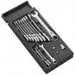FACOM MOD.467FJ12 12-PIECE MODULE OF HINGED COMBINATION WRENCHES AND ADAPTORS
