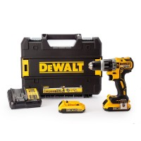 Dewalt DCD796D2 2 x 2.0 Ah Li-Ion XR Brushless Combi Drill Kit, 18 V, Yellow/Black, Set of 7 Piece