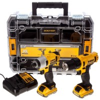 DeWalt DCK211D2T-GB - 10.8V Combo Kit With Drill Driver, Impact Driver 2 x 2.0Ah Batteries, Multi-Voltage Charger & Clear Lid TSTAK |