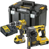 DeWalt DCK207P2T-GB - XR Brushless Combi SDS Twin Pack - DCH273 SDS & DCD796 with 2x 5AH Batteries and TSTAK Case