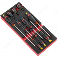 FACOM MODM.A5 10 PROTWIST® SCREWDRIVERS SET INCLUDING 3 BALL HANDLES IN FOAM TRAY
