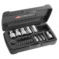 """FACOM RSX.19A SET OF 1/4"""" AND 1/2"""" DRIVE SOCKETS AND TORX DRIVER BITS"""