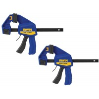 IRWIN T512QCEL7 - Medium Duty One-Handed Bar Clamp / Spreader 300mm (2 Pack)