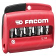 "FACOM E.114 COMBINED SET OF 10 TAMPER PROOF TORX PLUS® BITS 1/4"" - 25 MM + BIT HOLDER"